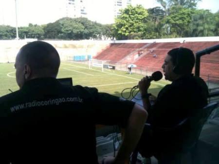 Rádio Coringão transmitindo sua primeira partida na Fazendinha (Sub20 contra Santo Andre,junho 2013)